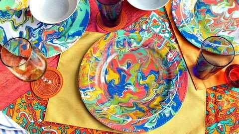 Make Flow Painted Dishes .  Free tutorial with pictures on how to make a plate in under 120 minutes by creating, decorating, embellishing, and marbling with plates, americana acrylics, and decoart pouring medium. How To posted by Mark Montano.  in the Art section Difficulty: Easy. Cost: Cheap. Steps: 3