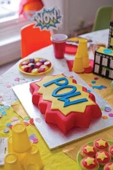 The Superhero Craft Book .  Free tutorial with pictures on how to bake a cake in under 60 minutes by cooking, baking, and decorating food with tins, caster sugar, and butter. Inspired by super hero. Recipe posted by GMC Group.  in the Recipes section Difficulty: Simple. Cost: Cheap. Steps: 6