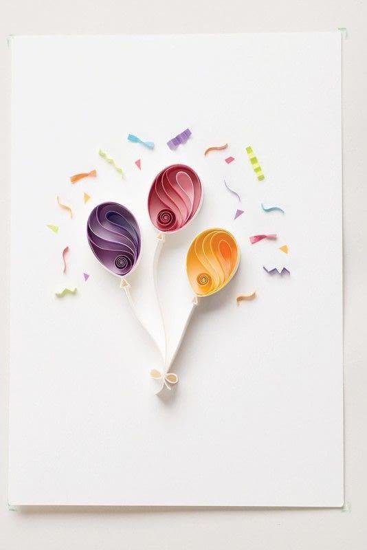 Terrific Birthday Balloons Extract From Quilling Art By Sena Runa Funny Birthday Cards Online Ioscodamsfinfo