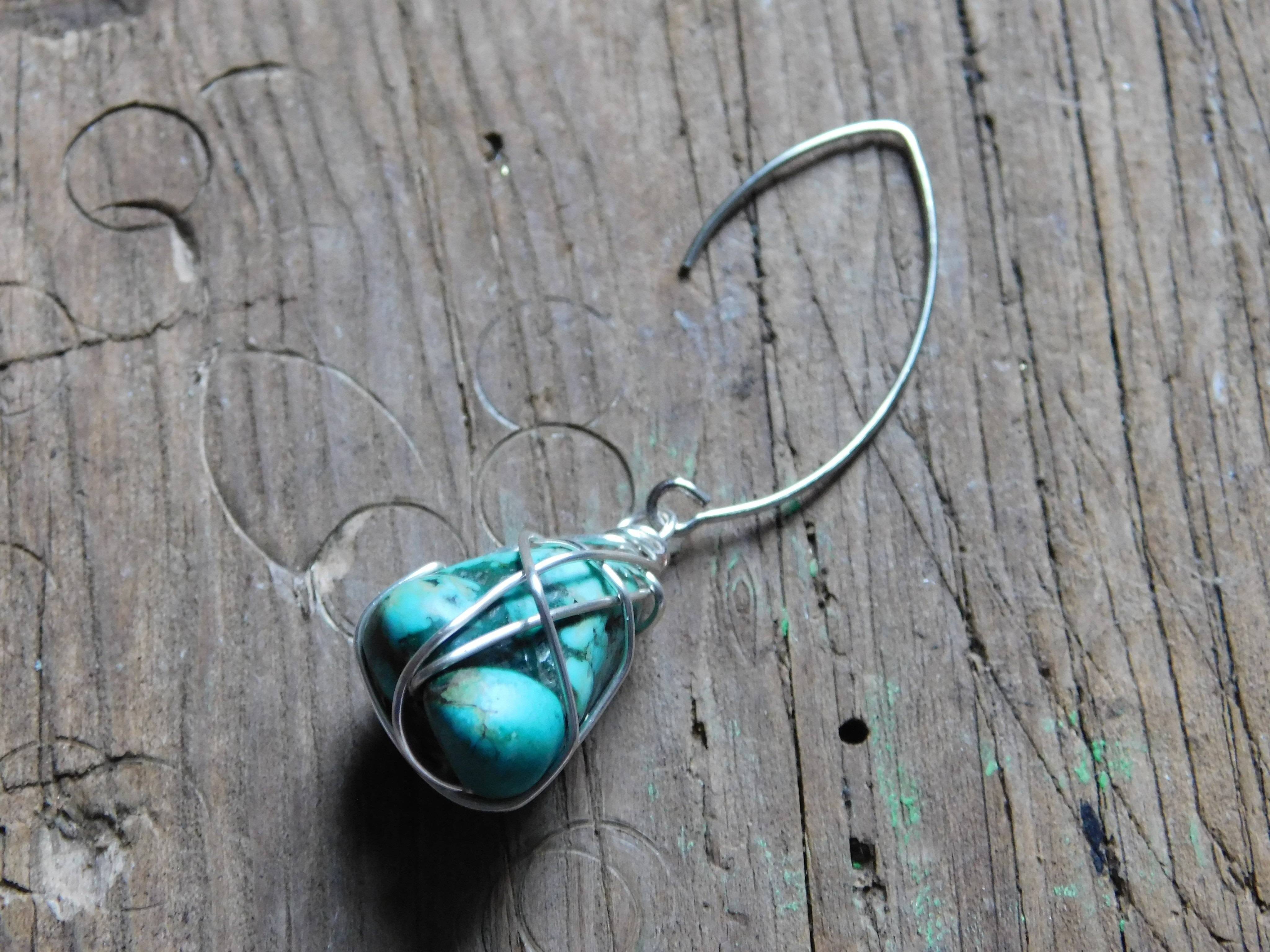 Wire Wrap Turquoise Earrings · How To Make A Dangle Earring ...