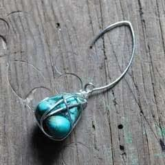 Wire Wrap Turquoise Earrings