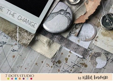 Be the change - 7 Dots Studio .  Free tutorial with pictures on how to make a piece of assemblage art in under 60 minutes by creating with tags and watercolour. How To posted by Riikka Kovasin.  in the Papercraft section Difficulty: 3/5. Cost: Cheap. Steps: 8