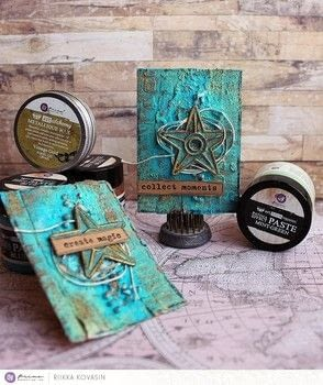 Patina ATC - Prima Marketing .  Free tutorial with pictures on how to make an artist trading card in under 45 minutes by creating with card. How To posted by Riikka Kovasin.  in the Art section Difficulty: Simple. Cost: Cheap. Steps: 1