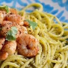 Gluten And Dairy Free Chilli, Garlic And Lemon Prawns With Basil Pesto Spaghetti