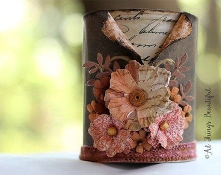 Diy Tutorial: 'Uncovering Secret Script' Altered Tin! .  Free tutorial with pictures on how to make a pot in under 60 minutes by decorating How To posted by Ann G.  in the Decorating section Difficulty: Simple. Cost: Cheap. Steps: 5