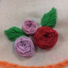 Hand Embroidered Woven Wheel Rose
