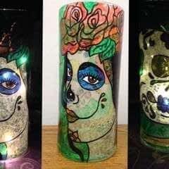 Painted Glass Vase / Lantern