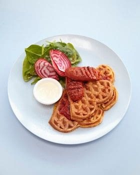 Cook sweetcorn waffles with Cafe Miami in London .  Free tutorial with pictures on how to cook waffle in under 45 minutes by cooking with baby spinach, olive oil, and sesame oil. Recipe posted by A Bite To Eat.  in the Recipes section Difficulty: Simple. Cost: Cheap. Steps: 6