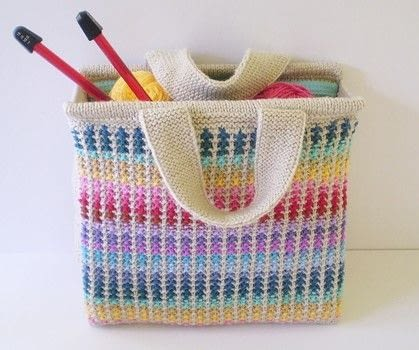 A sturdy bag that uses up lots of leftover yarn. .  Free tutorial with pictures on how to make a knit or crochet tote in 1 step by knitting with stylecraft special dk, stylecraft special dk, and knitting needles. How To posted by Frankie.  in the Yarncraft section Difficulty: Easy. Cost: No cost.