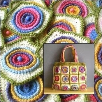 Colourful sets of textured crochet wheels, joined together to make a bag .  Free tutorial with pictures on how to make a knit or crochet tote in 1 step using yarn. How To posted by Frankie.  in the Yarncraft section Difficulty: Easy. Cost: No cost.