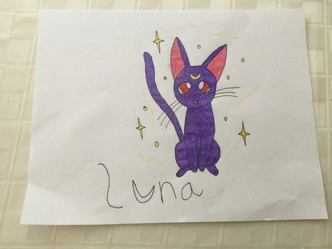 Luna Drawing from Sailor Moon .  Draw a manga drawing in under 30 minutes using paper, gel pens, and thin sharpie. Inspired by anime & manga, cats, and sailor moon. Creation posted by The Dark Vixen.  in the Art section Difficulty: Simple. Cost: No cost.