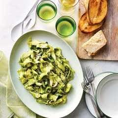 Zucchini Linguini With Pistachio And Pea Pesto