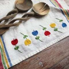 Embroidered Tulip Tea Towel