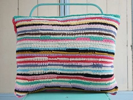 Stripy Blankets to Crochet .  Free tutorial with pictures on how to stitch a knit or crochet cushion in 3 steps by crocheting with cotton yarn, crochet hook, and crochet hook. How To posted by Search Press.  in the Yarncraft section Difficulty: 3/5. Cost: Cheap.