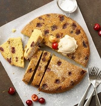 Cast Iron Skillet Dump Cake .  Free tutorial with pictures on how to bake a cake in under 60 minutes by baking with butter, amaretto, and cherries. Recipe posted by GMC Group.  in the Recipes section Difficulty: Simple. Cost: Cheap. Steps: 7
