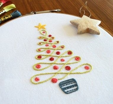 A stitch-filled festive tree .  Free tutorial with pictures on how to embroider  in under 120 minutes using fabric, threads, and needles. Inspired by christmas and trees. How To posted by Kelly Fletcher.  in the Needlework section Difficulty: Simple. Cost: No cost. Steps: 4