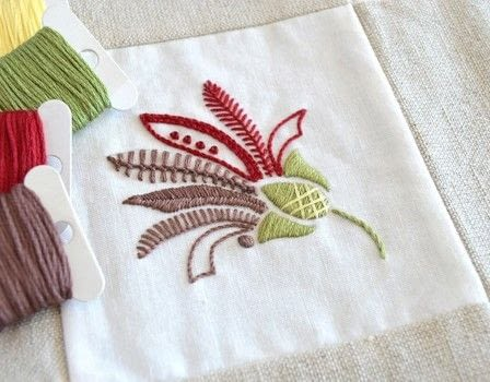 An elegant embroidered flower styled on woodland and wild flowers .  Free tutorial with pictures on how to embroider  in under 120 minutes using fabric, threads, and beads. Inspired by flowers and plants, flowers & trees. How To posted by Kelly Fletcher.  in the Needlework section Difficulty: Simple. Cost: No cost. Steps: 4