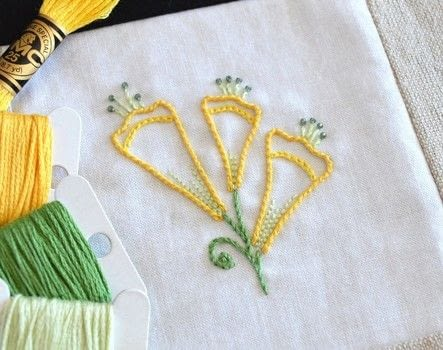 An elegant embroidered flower styled on tubular blooms .  Free tutorial with pictures on how to embroider  in under 120 minutes using fabric, threads, and beads. Inspired by garden, flowers, and plants, flowers & trees. How To posted by Kelly Fletcher.  in the Needlework section Difficulty: Simple. Cost: No cost. Steps: 4