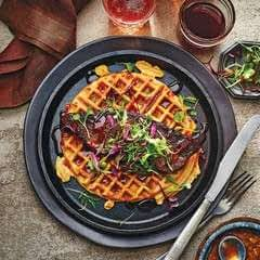 Collard Waffles With Brined Trout And Maple Hot Sauce