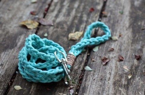 Check out our easy DIY on how to make your own Braided Rope Dog Leash just like this one for your bestie. Soft and colorful, he will stand out from the crowd with your custom creation. .  Free tutorial with pictures on how to make a pet collar/leash in 11 steps by braiding and dyeing with clothesline, stick, and scissors. Inspired by for pets. How To posted by Buy This Cook That.  in the Other section Difficulty: 3/5. Cost: Cheap.
