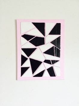 Broken minimalistic geometric puzzle contrasting color canvas art.  .  Free tutorial with pictures on how to make a piece of recycled art in 6 steps by creating with cardboard box, scissors, and black paint. Inspired by pop art and geometric. How To posted by Lydia L.  in the Art section Difficulty: Simple. Cost: Cheap.