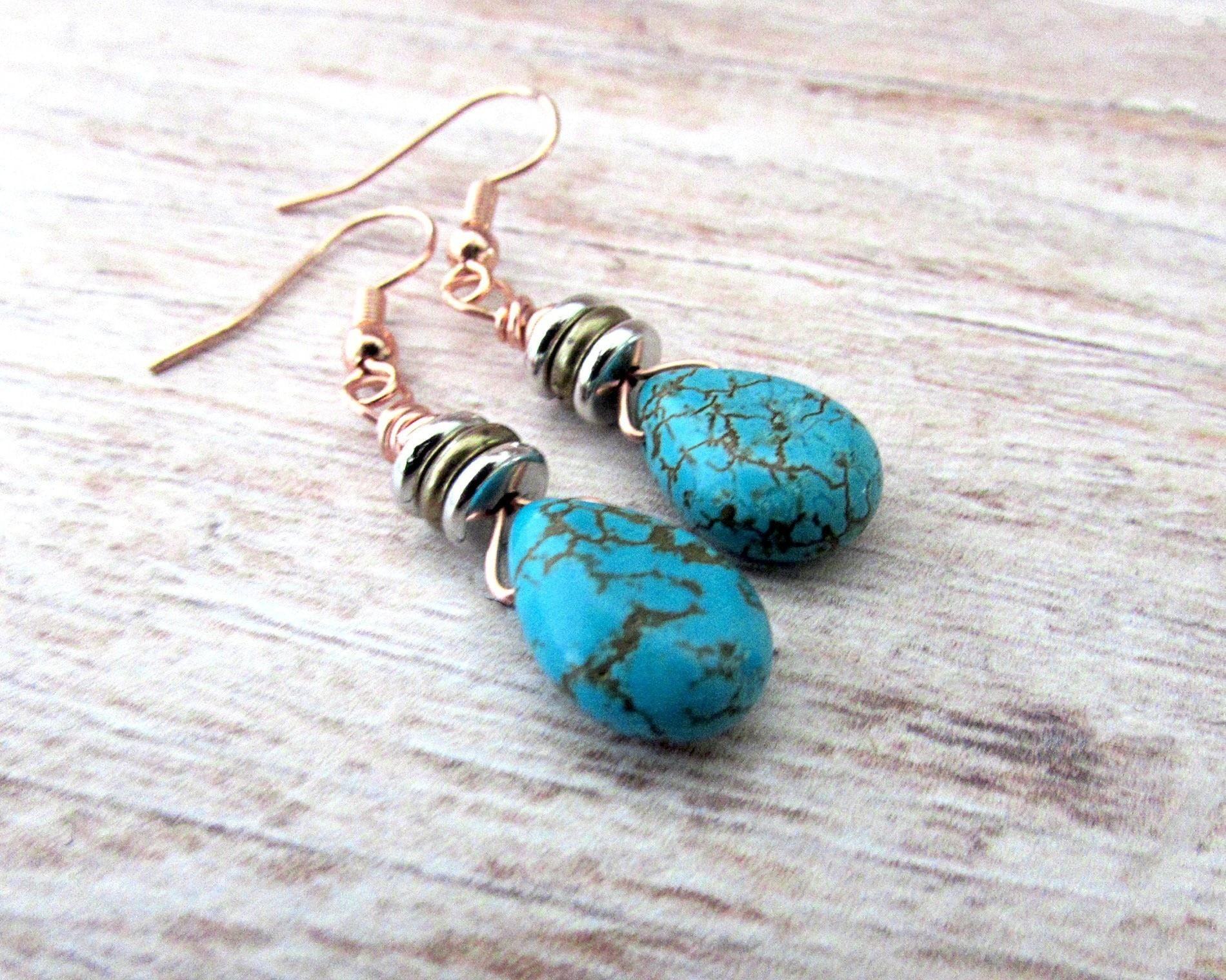 Diy Boho Turquoise Earrings · How To Make A Dangle Earring · Jewelry ...