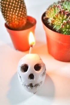 Carve your own Madame Tussauds inspired waxwork skull candle. .  Free tutorial with pictures on how to make a candle in under 45 minutes by making beauty products with egg, awl, and wick. How To posted by Cat Morley.  in the Home + DIY section Difficulty: Simple. Cost: Cheap. Steps: 21