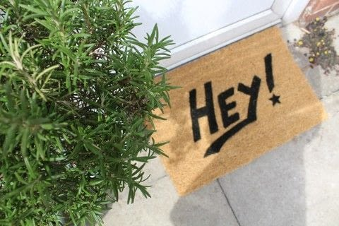 Personalise your own doormat! .  Free tutorial with pictures on how to make a door mat in under 60 minutes by decorating with cardboard, fabric paint, and pens. How To posted by Kezzabeth.  in the Home + DIY section Difficulty: Simple. Cost: Cheap. Steps: 5