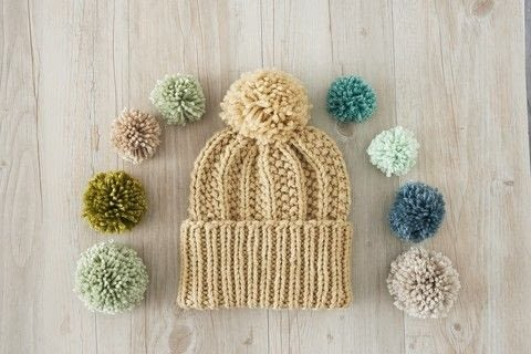 3X1 Seed Rib Stitch Pom-pom hat  .  Free tutorial with pictures on how to make a pom pom beanie in under 180 minutes by knitting with yarn, circular needle, and stitch marker. How To posted by Search Press.  in the Yarncraft section Difficulty: 3/5. Cost: 3/5. Steps: 9