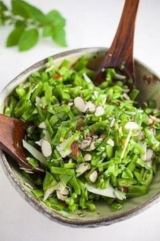This Minty Pea and Almond Salad is a healthy and fresh raw vegetarian cold summer salad made with sugar snap peas, mint leaves, sliced almonds, and lemon. .  Free tutorial with pictures on how to make a salad in under 15 minutes by cooking with peas, sliced almonds, and mint. Recipe posted by Christine R.  in the Recipes section Difficulty: Simple. Cost: Absolutley free. Steps: 3