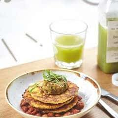 Corn Fritters With Smoky Baked Beans And Avo Smash