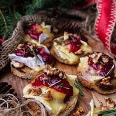Brie Lingonberry Jam Crostini
