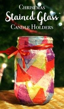 This colorful tissue paper stained glass candle holder is so simple to make but fun for every age. .  Free tutorial with pictures on how to make a votive / candle holder in under 30 minutes by decoupaging with glass jar, tissue paper, and ribbon. How To posted by Shelly C.  in the Art section Difficulty: Simple. Cost: Cheap. Steps: 5