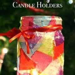 Simple Decoupaged Stained Glass Candle Holder