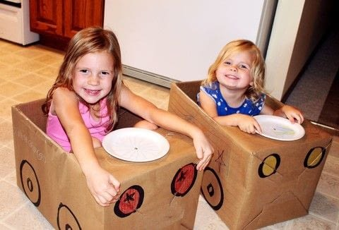 Your grandkids/kids can make their own apple box car, so they can have a Drive-In Movie Theater Birthday Party! .  Free tutorial with pictures on how to make a piece of assemblage art in under 60 minutes using box, brown grocery bag or craft paper, and tape. How To posted by Shelly C.  in the Art section Difficulty: Simple. Cost: Cheap. Steps: 7