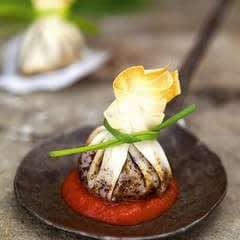 Mushroom And Treacle Parcels With Spicy Tomato Sauce