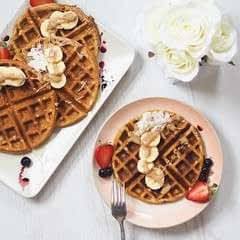 Four Ingredient Peanut Butter Waffles