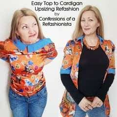 Easy Top To Cardigan Upsizing Refashion Tutorial