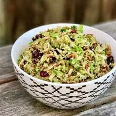 Shredded Brussels Sprout With Bacon, Cranberries + Brown Sugar
