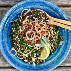 Lentils + Rice With Crispy Onions And Sage
