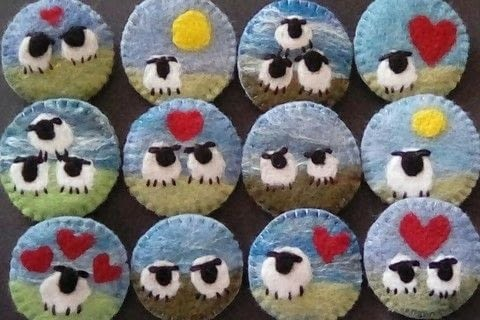 Felted sheep brooches .  Sew a fabric animal brooch in under 30 minutes by sewing, felting, and hand sewing with felting needles, brooch back, and needle & thread. Inspired by sheep. Creation posted by sian d.  in the Needlework section Difficulty: Simple. Cost: 3/5.
