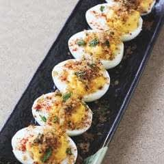 Spicy Deviled Eggs With Crispy Bagoong Breadcrumbs