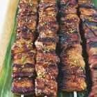 Grilled Pork Belly Skewers With Coffee And Ginger Beer Glaze