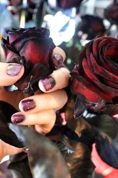 A romantic purple and black gradient nail polish inspired by black roses. .  Free tutorial with pictures on how to paint a gradient nail in under 20 minutes by nail painting with nail polish, nail polish, and nail polish. Inspired by purple, black, and roses. How To posted by Cat Morley.  in the Beauty section Difficulty: Simple. Cost: Cheap. Steps: 7