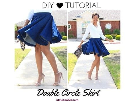 Sew a half circle skirt .  Free tutorial with pictures on how to make a circle skirt in under 180 minutes by sewing with circle skirt calculator (see step 1), woven fabric, and pins. How To posted by Style Sew Me.  in the Sewing section Difficulty: Simple. Cost: Cheap. Steps: 1