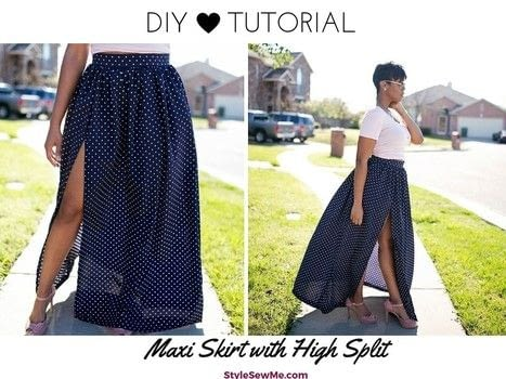 Sew a gathered maxi skirt .  Free tutorial with pictures on how to sew a gathered skirt in under 120 minutes by sewing with woven fabric, pins, and scissors. How To posted by Style Sew Me.  in the Sewing section Difficulty: Simple. Cost: Cheap. Steps: 1