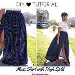 Gathered Maxi Skirt With A Split Tutorial