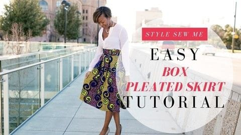 Easy Box Pleat Skirt - No Pattern Needed .  Free tutorial with pictures on how to sew a pleated skirt in under 150 minutes by sewing and dressmaking with zipper, woven fabric, and tailor's chalk. How To posted by Style Sew Me.  in the Sewing section Difficulty: Simple. Cost: Cheap. Steps: 1