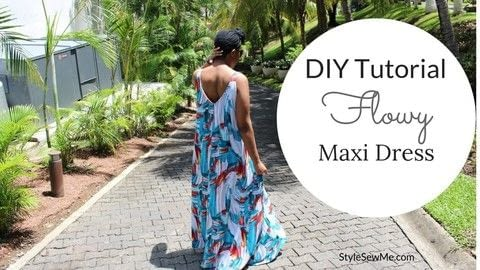 Turn a tank top into a maxi dress .  Free tutorial with pictures on how to sew a maxi dress in under 120 minutes by sewing and dressmaking with stretch fabric, tracing wheel, and tracing paper. How To posted by Style Sew Me.  in the Sewing section Difficulty: Simple. Cost: Cheap. Steps: 1