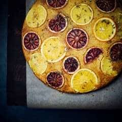 Upside Down Orange And Fennel Cornmeal Cake